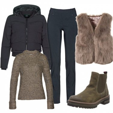 Outfit Gilet in ecopelliccia