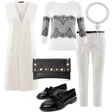 Outfit Chic in maglia e Jacquard