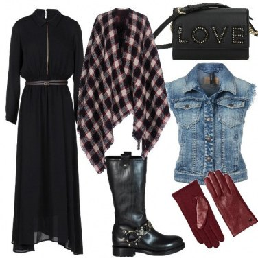 Outfit Abito lungo, gilet e stivale rock