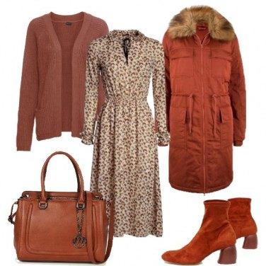 Outfit Parka ed abito lungo
