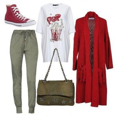 Outfit Maxi cardigan e pantaloni jogging