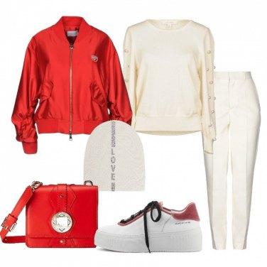 Outfit Avorio e rosso