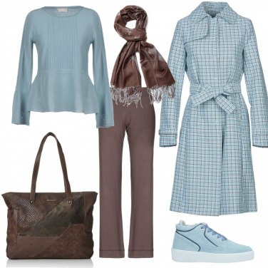 Outfit Trench a quadri