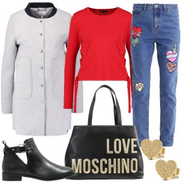 Outfit Allegri cuori sui jeans