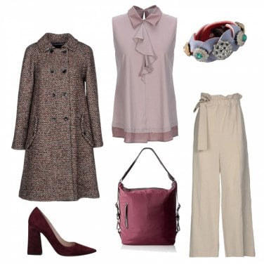 Outfit Cappotto di tweed, toni rosa e bordeaux