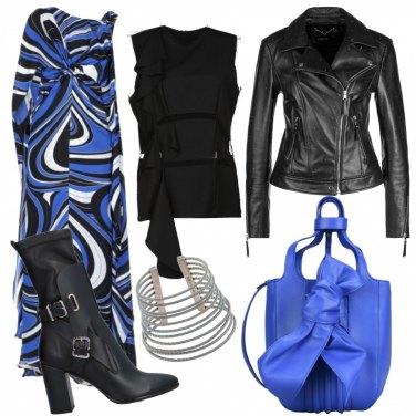 Outfit Aperitivo in blu e nero