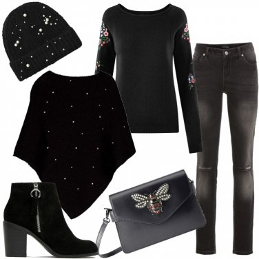 Outfit Total black con perle