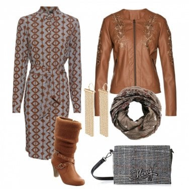 Outfit Abito chemisier e giacca in pelle