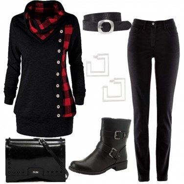 Outfit Maxi felpa a quadri