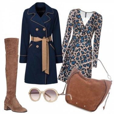 Outfit Animalier blu e beige