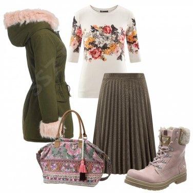 Outfit Rosa, rose ed ecofur