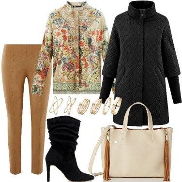 Outfit Ecopelle e camicia etnica