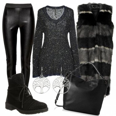 Outfit Leggins ecopelle