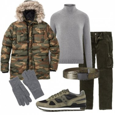 Outfit Giaccone camouflage e Saucony