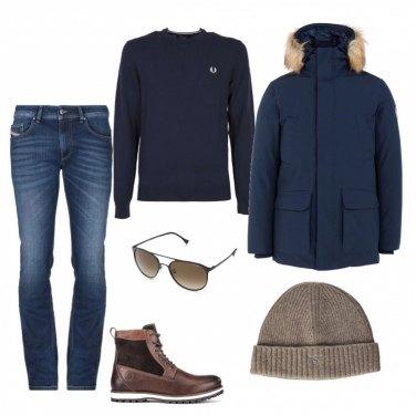 Outfit Il caldo giubbotto blu