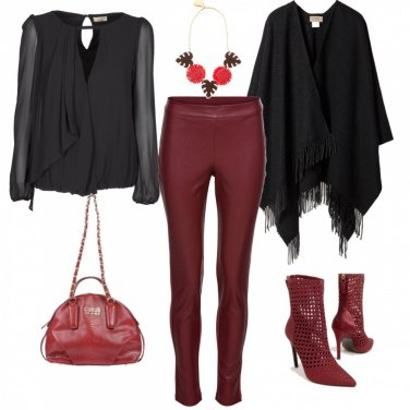 Outfit Leggings ecopelle rossa