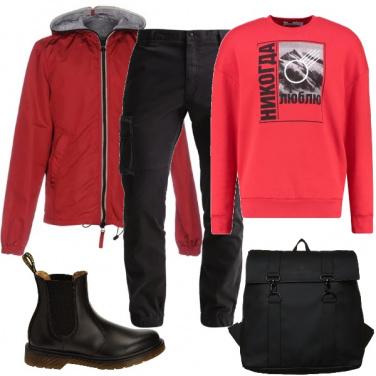 Outfit Rosso e nero casual