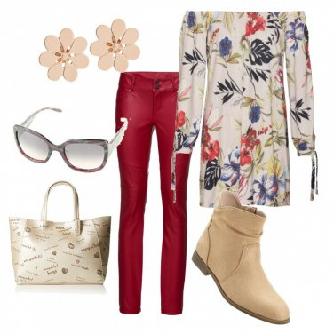 Outfit Pantalone rosso di pelle