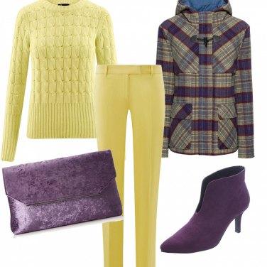 Outfit Giallo e viola glam