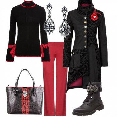Outfit Rosso e nero Gotic Style