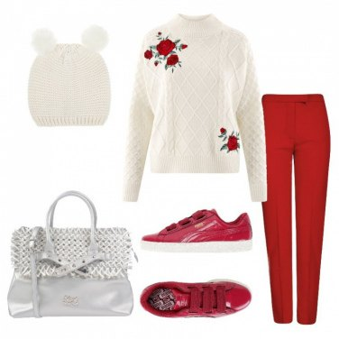 Outfit Rose e sneakers Puma