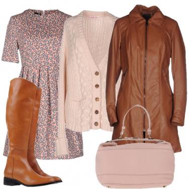 Outfit Rosa e cuoio