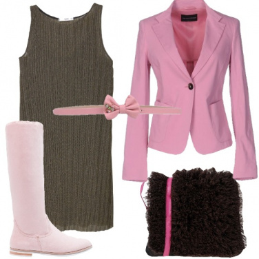 Outfit Giacca rosa romantico