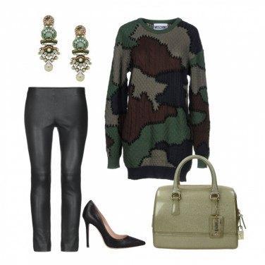 Outfit Glam con la maglia camouflage