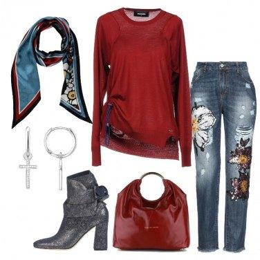 Outfit Paillettes sul jeans e Dsquared2