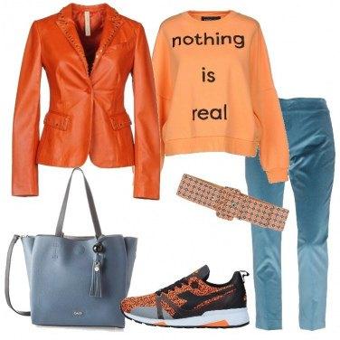 Outfit Giacca in pelle e sneakers Diadora