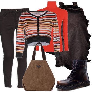 Outfit Arancio a righe