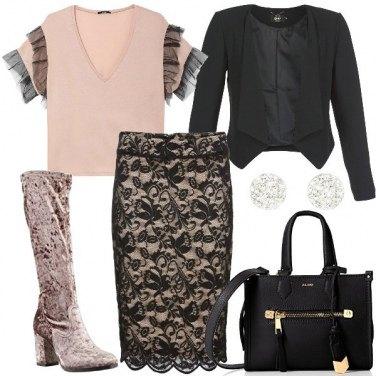 Outfit Rosa e pizzo nero