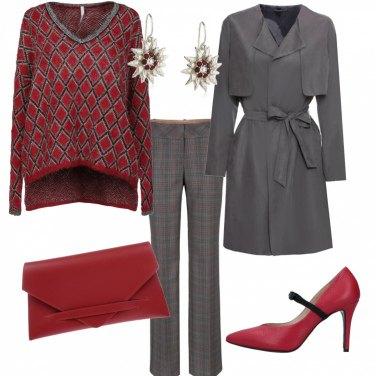 Outfit Con la maglia a rombi