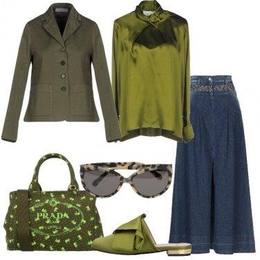 Outfit Denim e verde