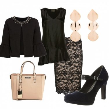 Outfit Cerimonia nero e rosa