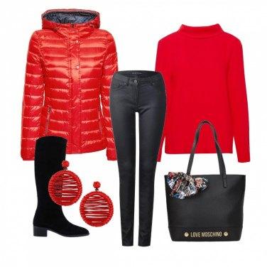 Outfit Look inverno in rosso e nero