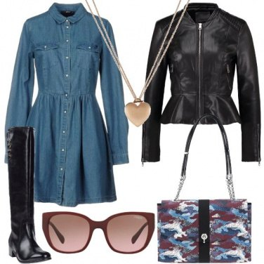Outfit Bon ton in jeans e pelle