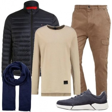 Outfit Semplice blu beige