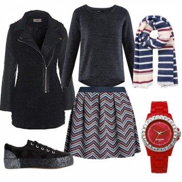 Outfit Righe in blu e rosso