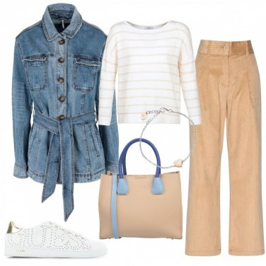 Outfit Pantalone in velluto, e Tranch in Jeans