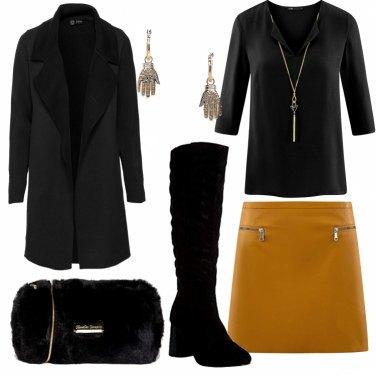 Outfit Nero e ocra