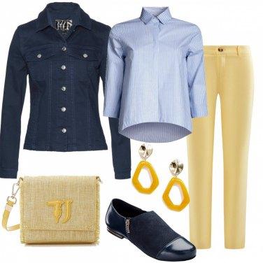 Outfit Pantaloni giallo pastello