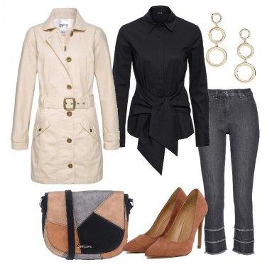 Outfit Pratico trench e camicia da annodare