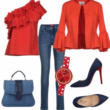 Outfit Jeans e ruches rosse per San Valentino