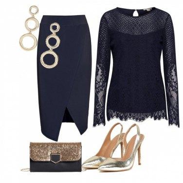 Outfit Cerimonia Blu e oro