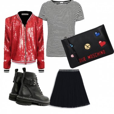 Outfit Righe rock