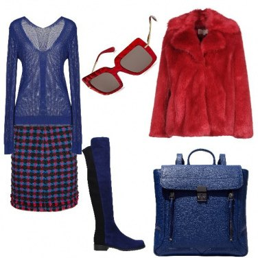 Outfit Blue reale e rosso