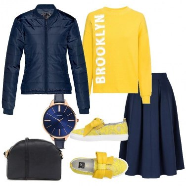 Outfit Idee in giallo e blu