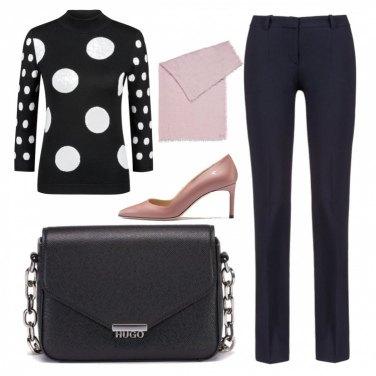 Outfit Un tocco di rosa sul black&white