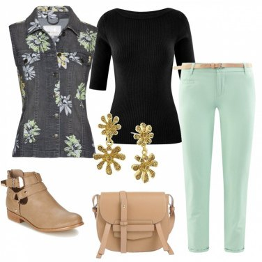 Outfit Fiori sul gilet in jeans